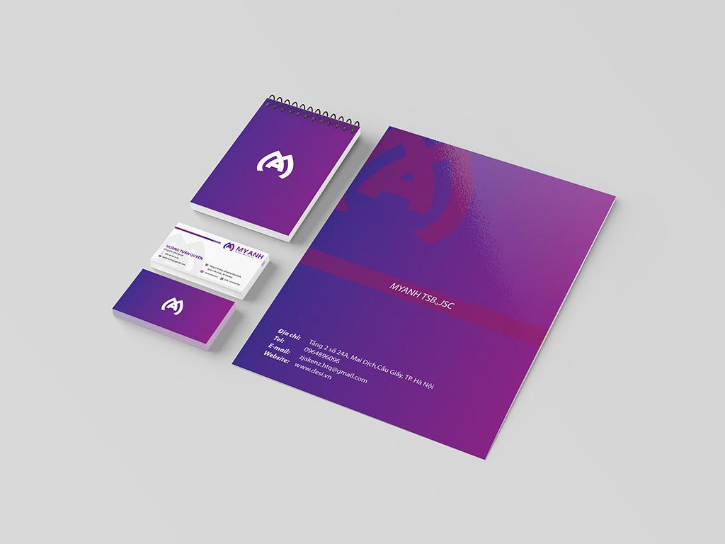 thiết kế nhận diện thương hiệu tím