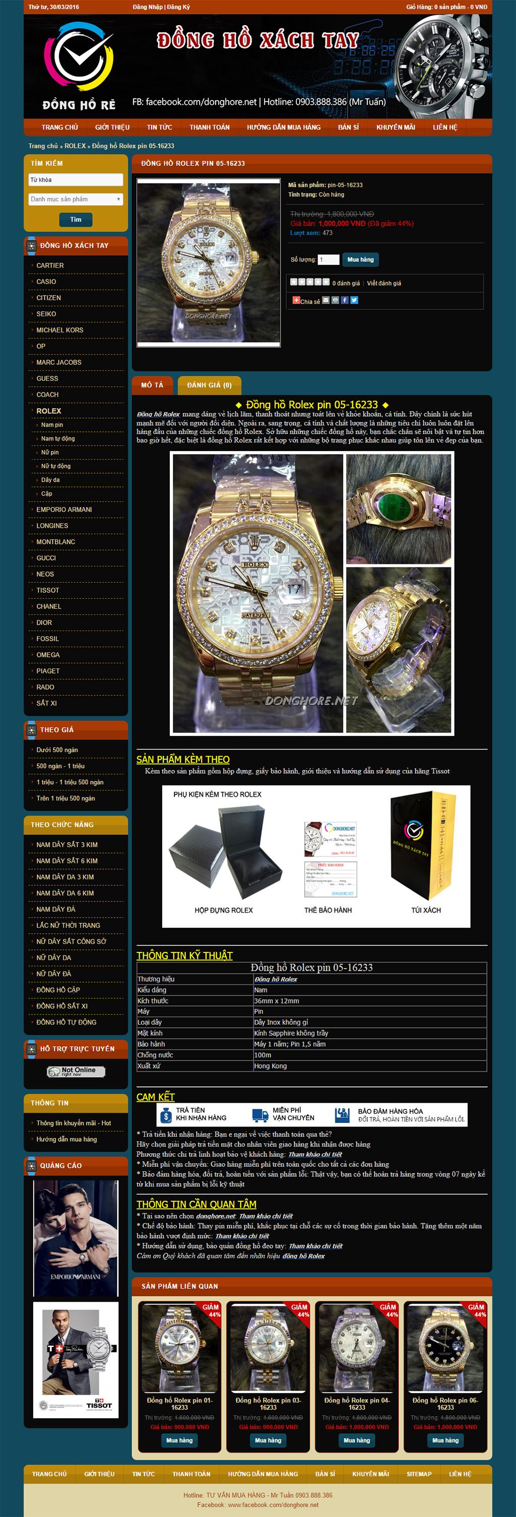 làm website bán đồng hồ