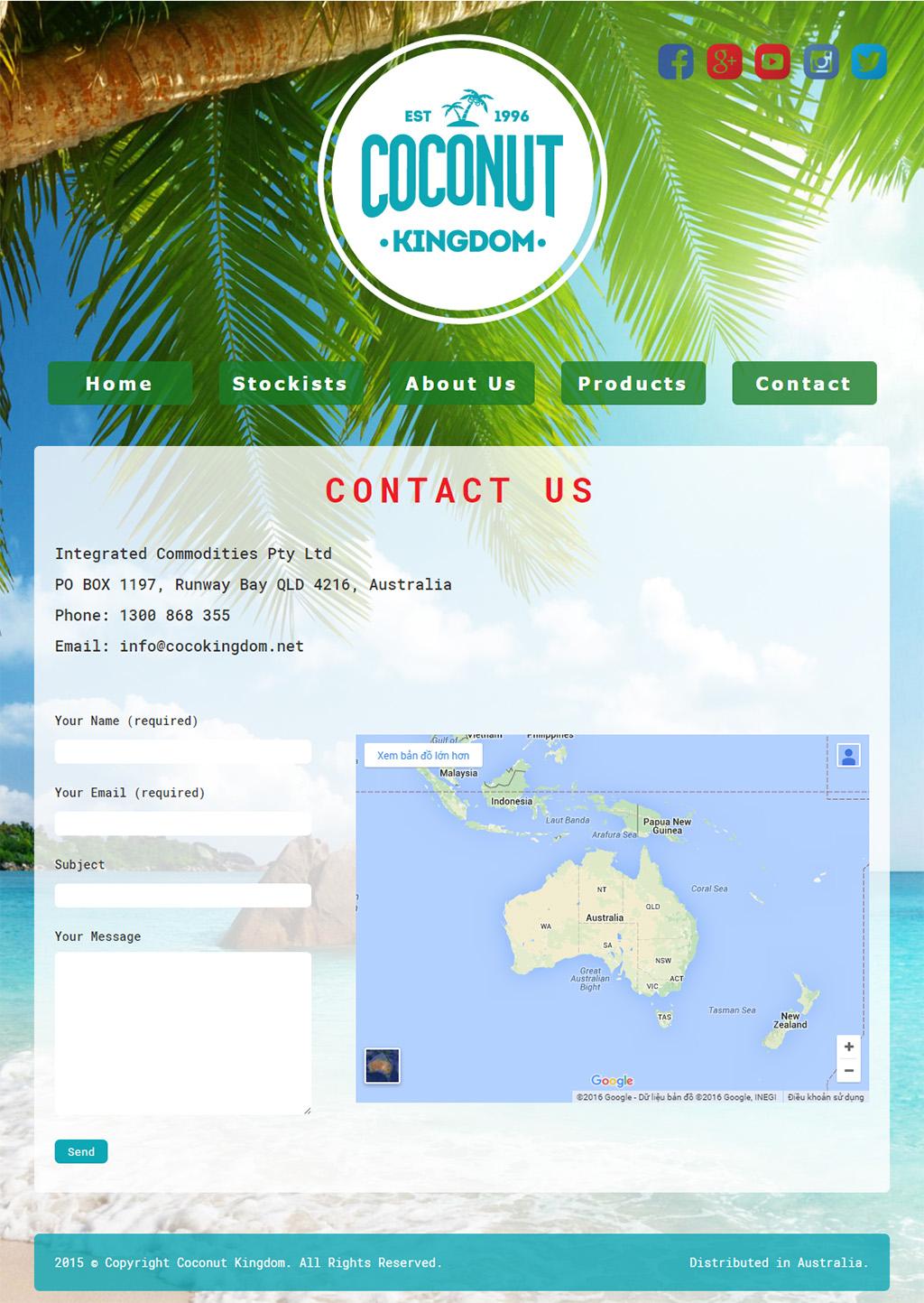 website bán nước dừa