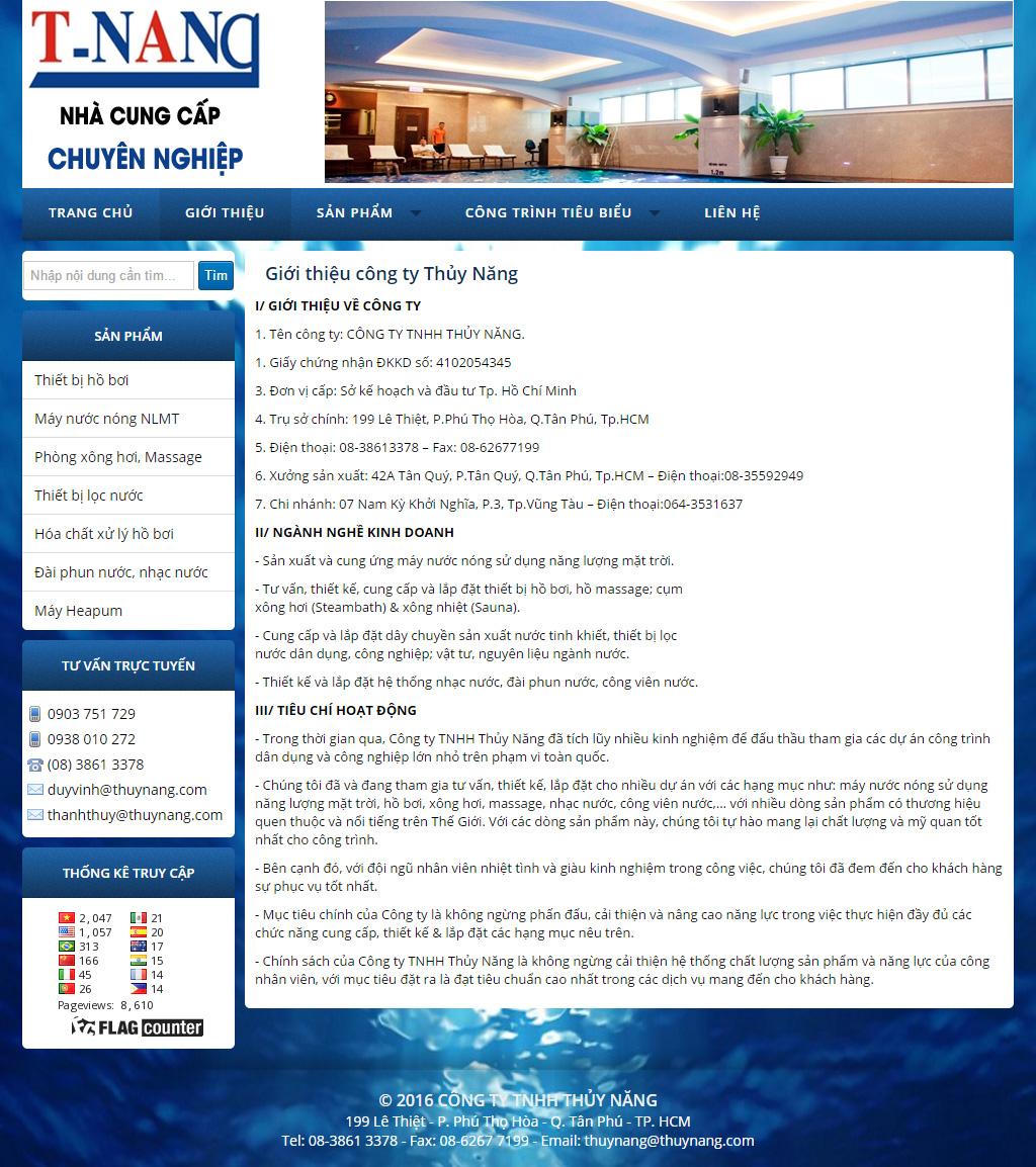thiết kế web thủy năng